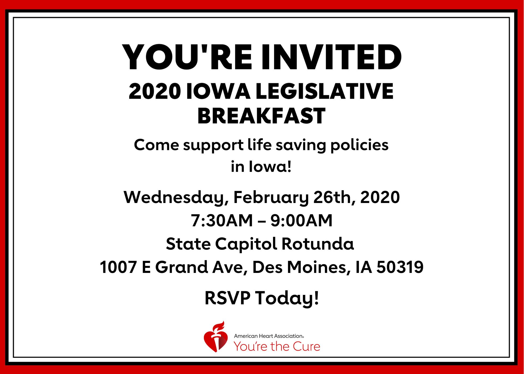 You're Invited - 2020 Iowa Legislative Breakfast