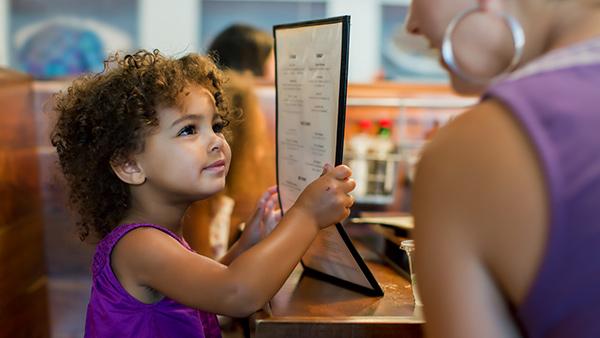 daughter reading menu